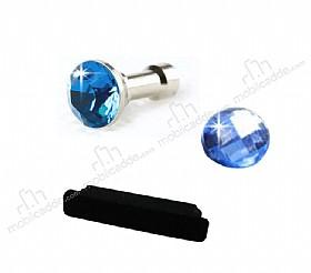 iPhone ve iPad Home Butonu + Şarj ve Kulaklık Mavi Toz Önleyici Set