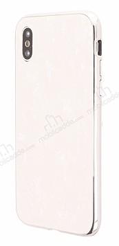 iPhone X / XS 360 Derece Koruma Desenli Manyetik Cam Beyaz Kılıf