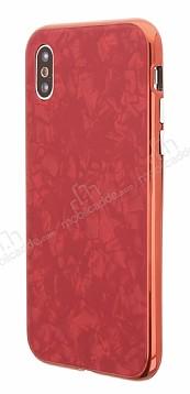 iPhone X / XS 360 Derece Koruma Desenli Manyetik Cam Kırmızı Kılıf