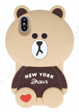 iPhone X Ayıcık Kahverengi Silikon Kılıf