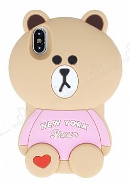 iPhone X / XS Ayıcık Açık Pembe Silikon Kılıf