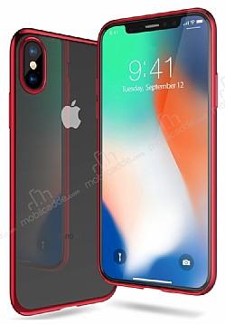 iPhone X Kırmızı Kenarlı Şeffaf Silikon Kılıf