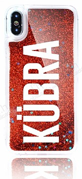 iPhone X Kişiye Özel Simli Sulu Kırmızı Rubber Kılıf