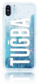 iPhone X / XS Kişiye Özel Simli Sulu Mavi Rubber Kılıf