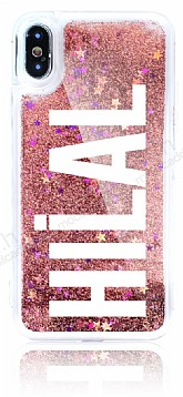 iPhone X / XS Kişiye Özel Simli Sulu Rose Gold Rubber Kılıf