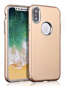iPhone X Metal Kamera Korumalı Gold Silikon Kılıf