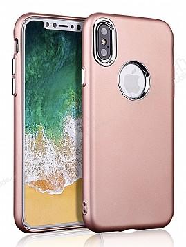 iPhone X Metal Kamera Korumalı Rose Gold Silikon Kılıf