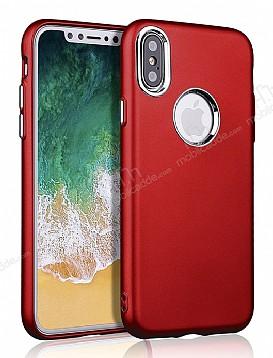 iPhone X Metal Kamera Korumalı Kırmızı Silikon Kılıf