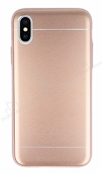 iPhone X Silikon Kenarlı Metal Rose Gold Kılıf