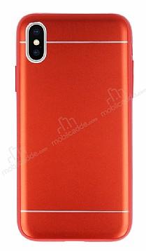 iPhone X Silikon Kenarlı Metal Kırmızı Kılıf