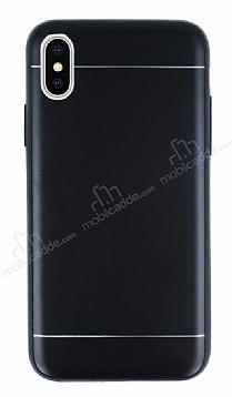 iPhone X Silikon Kenarlı Metal Siyah Kılıf