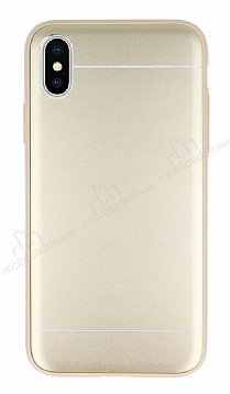 iPhone X Silikon Kenarlı Metal Gold Kılıf