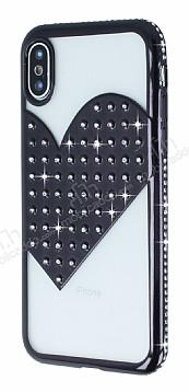 iPhone X / XS Taşlı Kalpli Siyah Silikon Kılıf