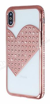 iPhone X / XS Taşlı Kalpli Rose Gold Silikon Kılıf