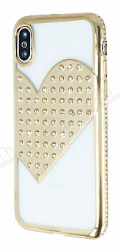 iPhone X / XS Taşlı Kalpli Gold Silikon Kılıf