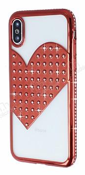 iPhone X Taşlı Kalpli Kırmızı Silikon Kılıf