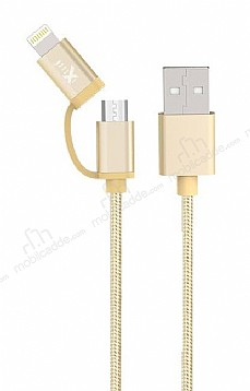 iXtech IX-06 Elegant Series Gold Lightning ve Micro USB Data Kablosu 1m