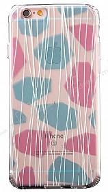 JLW iPhone 6 / 6S Renkli Desenli Şeffaf Silikon Kılıf