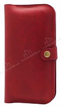 JLW Universal XL Cüzdan Kahverengi Kırmızı Deri Kılıf