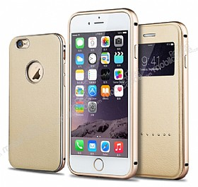 Joyroom iPhone 6 / 6S 2'si 1 Arada Deri ve Pencereli Gold Kılıf Seti