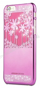 Joyroom Flower iPhone 6 / 6S Taşlı Pembe Rubber Kılıf