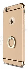 Joyroom iPhone 6 / 6S Selfie Yüzüklü Metal Gold Rubber Kılıf