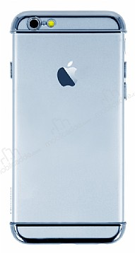 Joyroom iPhone 6 Plus / 6S Plus Silver Kenarlı Şeffaf Rubber Kılıf