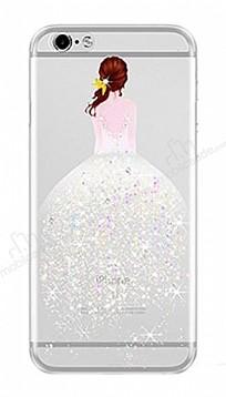 Joyroom iPhone 6 Plus / 6S Plus Kız Taşlı Beyaz Silikon Kılıf