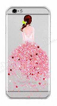 Joyroom iPhone 7 Kız Taşlı Kırmızı Silikon Kılıf