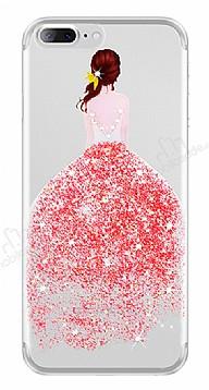 Joyroom iPhone 7 Plus Kız Taşlı Kırmızı Silikon Kılıf