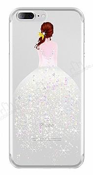 Joyroom iPhone 7 Plus / 8 Plus Kız Taşlı Beyaz Silikon Kılıf