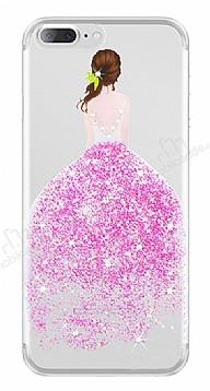 Joyroom iPhone 7 Plus / 8 Plus Kız Taşlı Pembe Silikon Kılıf