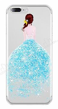 Joyroom iPhone 7 Plus / 8 Plus Kız Taşlı Mavi Silikon Kılıf