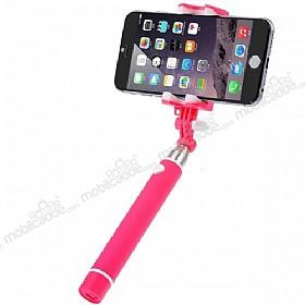 Joyroom Universal Aynalı Bluetooth Tuşlu Pembe Selfie Çubuğu 50 cm