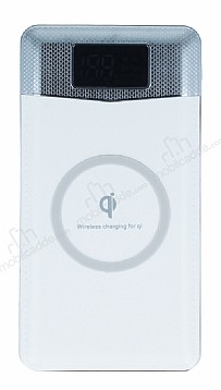 Kablosuz Şarj Özellikli 10000 mAh Powerbank Beyaz Yedek Batarya