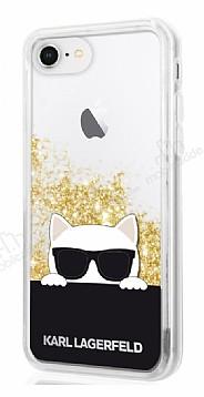 Karl Lagerfeld iPhone 7 / 8 Kedi Siyah Simli Silikon Kılıf