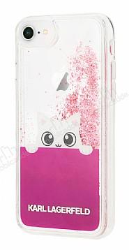 Karl Lagerfeld iPhone 7 / 8 Kedili Pembe Simli Silikon Kılıf