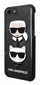 Karl Lagerfeld iPhone 7 / 8 Siyah Deri Rubber Kılıf