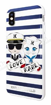 Karl Lagerfeld iPhone X / XS Çizgili Silikon Kılıf