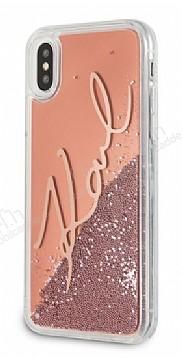 Karl Lagerfeld iPhone X Simli Rose Gold Kılıf