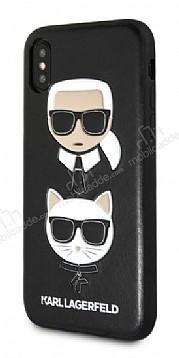Karl Lagerfeld iPhone X / XS Siyah Deri Rubber Kılıf