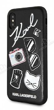 Karl Lagerfeld iPhone X Siyah Karl Deri Rubber Kılıf