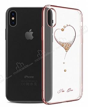 Kingxbar iPhone X Kalpli Rose Gold Taşlı Kristal Kılıf