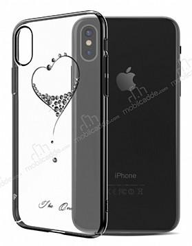 Kingxbar iPhone X Kalpli Siyah Taşlı Kristal Kılıf