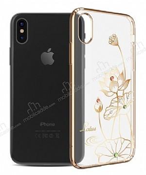 Kingxbar iPhone X Çiçekli Gold Taşlı Kristal Kılıf