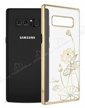 Kingxbar Samsung Galaxy Note 8 Çiçekli Gold Taşlı Kristal Kılıf