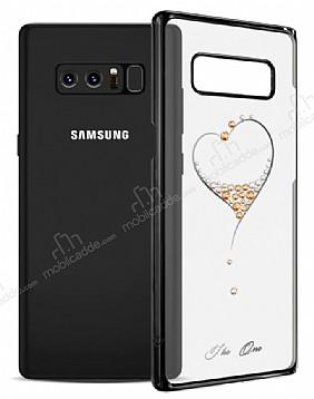 Kingxbar Samsung Galaxy Note 8 Kalpli Siyah Taşlı Kristal Kılıf