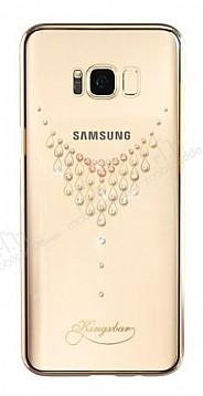 Kingxbar Samsung Galaxy S8 Plus Damla Gold Taşlı Kristal Kılıf