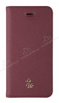 La Vie Fashion Folio iPhone X Burgundy Red Kılıf