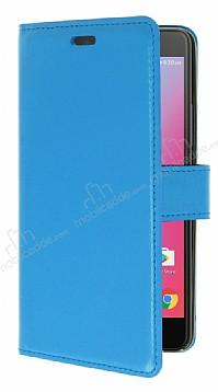 Lenovo K6 Note Cüzdanlı Yan Kapaklı Mavi Deri Kılıf
